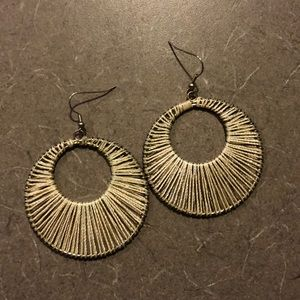 Gold and cream statement earrings